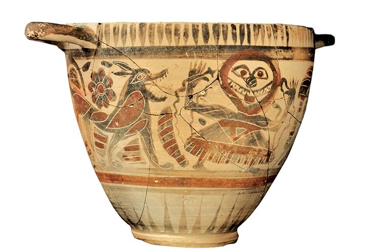 """Kotyle del """"Pittore del Lupo cattivo"""", VI sec. a.C., (tomba 856)"""