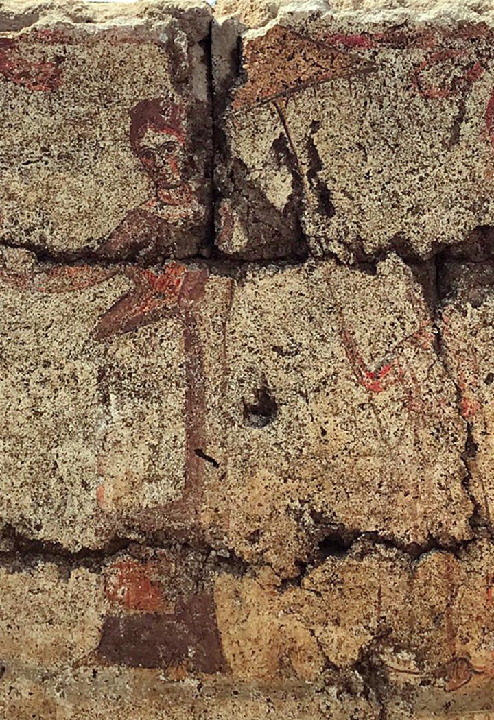 """Tomba """"della donna con ombrellino"""" (particolare della lastra centrale), seconda metà del III sec. a.C. (tomba 9890)"""